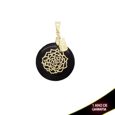 Imagem de Pingente com Réplica de Madrepérola Preta com Flor Dourada e Placa escrito Amor - 0303593