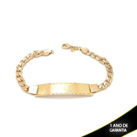 Imagem de Pulseira Chapa Lisa com Detalhe Diamantado dos Lados 6mm  - 0502659