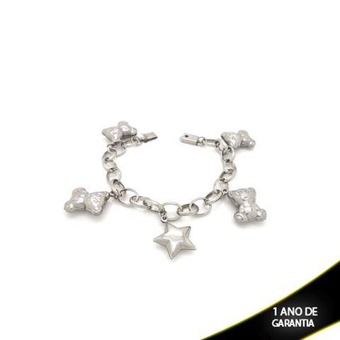 Imagem de Pulseira Aço Inox com Pingentes Ursinho e Estrela 19 cm - 0501825