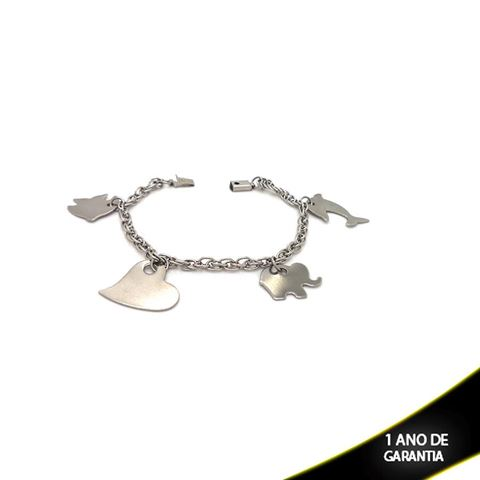 Imagem de Pulseira Aço Inox com Pingentes Pendurados 20cm - 0502214