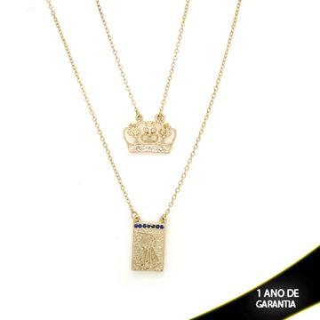 Imagem de Corrente Escapulário Placa com Nossa Senhora Aparecida e Coroa  60cm - 0402364