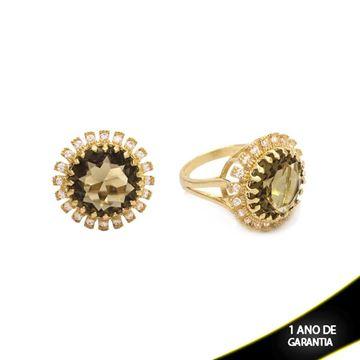 Imagem de Anel com Pedra e Zircônias em Volta Várias Cores - 0104174