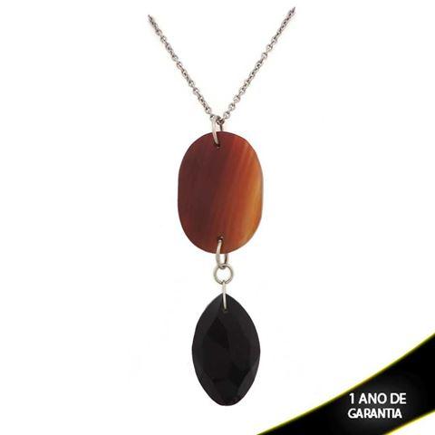 Imagem de Colar Aço com Duas Pedras 70cm - 0400967