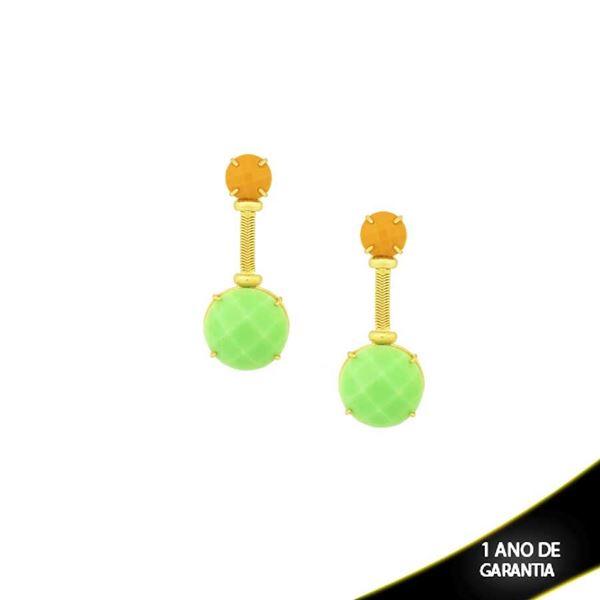 Imagem de Brinco Pedra Natural Mostarda com Verde Grande - 0207167