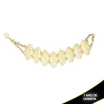 Imagem de Pulseira com Oito Folhas Diamantadas e corrente dos Lados 21cm - 0502667
