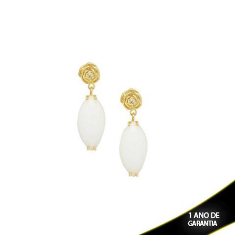 Imagem de Brinco de Pedra Natural Grande Branco com Rosa e Zircônia - 0209025