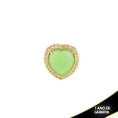 Imagem de Pingente Coração com Pedra Natural Branco ou Verde e Zircônias em Volta - 0303410