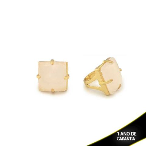 Imagem de Anel Pedra Natural Quadrado Gelo ou Roxo - 0103813