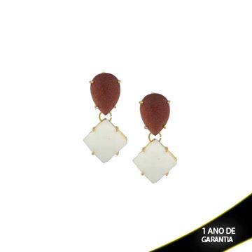 Imagem de Brinco Pedra Natural cor Pedra do Sol e Branco Grande - 0207816