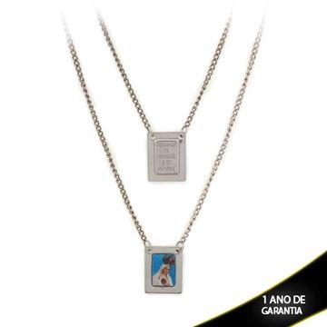 Imagem de Corrente Aço Escapulário com Sagrado Coração de Jesus e Mãe Rainha 60cm - 0402544