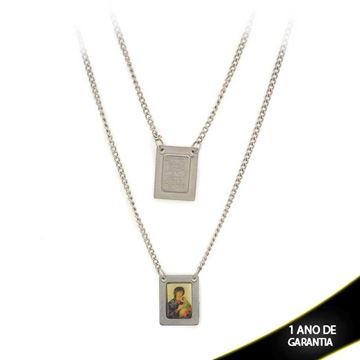 Imagem de Corrente Aço Escapulário com Sagrado Coração de Jesus e Nossa Senhora de Fátima 60cm - 0400195