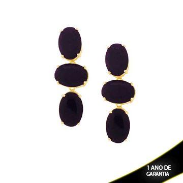 Imagem de Brinco Grande Três Pedras Preta ou Vermelha - 207418