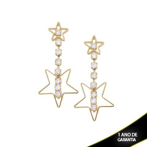 Imagem de Brinco Grande Duas Estrelas e Oito Strass - 206803