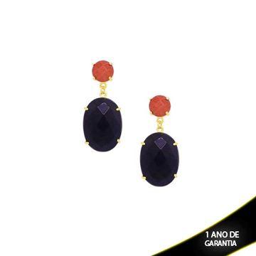 Imagem de Brinco Pedras Naturais Duas Cores ou Branco - 207158