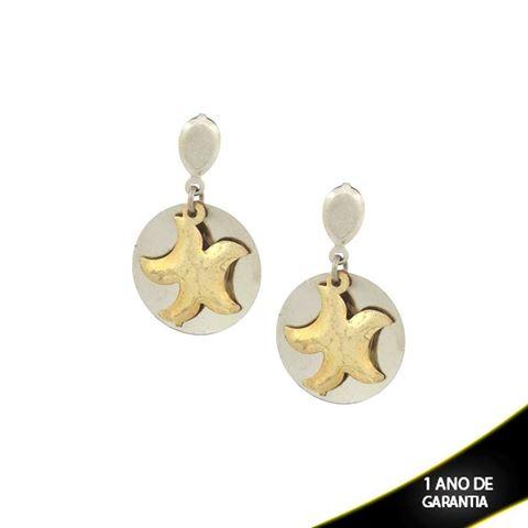 Imagem de Brinco Aço com Estrela Dourado - 0207198
