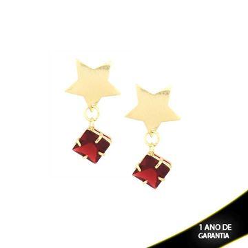 Imagem de Brinco com Estrela e Pedra Várias Cores - 0209142