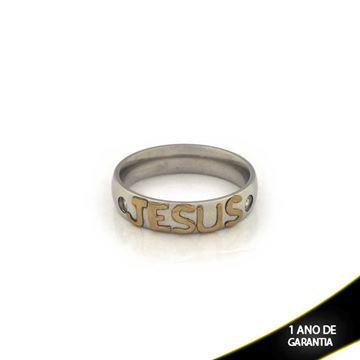 Imagem de Anel Aço Jesus com Strass - 0101699