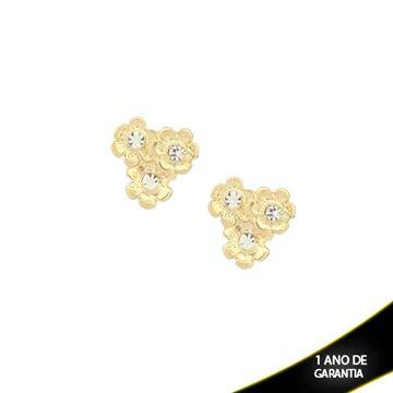 Imagem de Brinco com Três Flores e Strass Branco ou Vermelho - 0208803