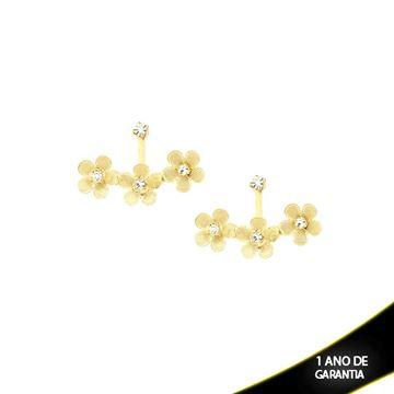 Imagem de Brinco Ear Jacket Três Flores e Strass - 0209324