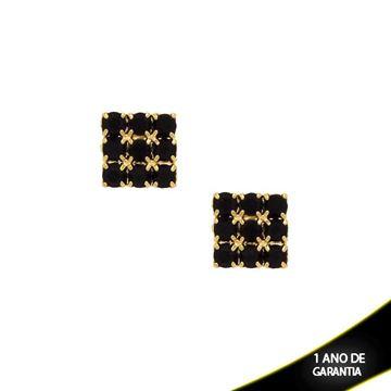 Imagem de Brinco Quadrado com Strass Várias Cores - 0208180