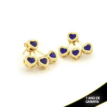 Imagem de Brinco Ear Jacket Coração Pedra Preta ou Azul - 0209291