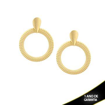 Imagem de Brinco Redondo Fosco com Diamantado em Volta - 0209798