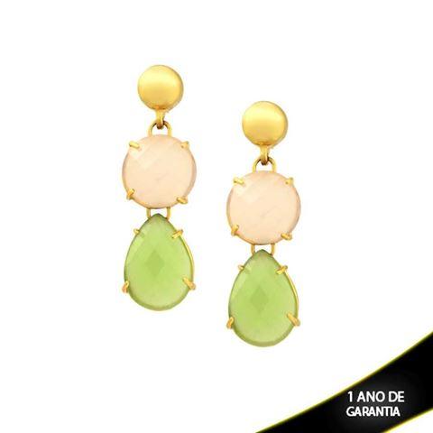 Imagem de Brinco Pedra Natural Rosa e Verde - 0207803