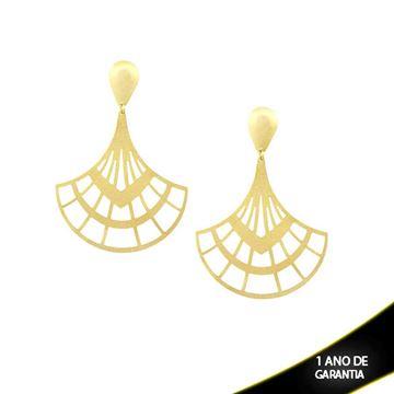 Imagem de Brinco Leque Fosco e Diamantado - 0209764
