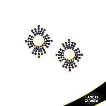 Imagem de Brinco com Zircônias Várias Cores e Pérola no Meio - 0210012