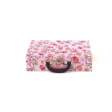 Imagem de Maleta Grande Rosa Com Estampa De Corujas para Semi Joias - 02084