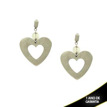 Imagem de Brinco Aço com Coração Vazado e Pedra no Meio - 0202555