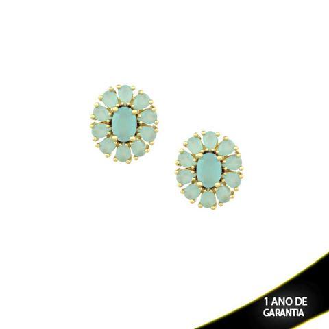 Imagem de Brinco Flor com Pedras Azul Claro ou Preto  - 0210031