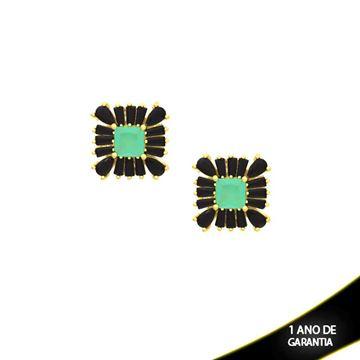 Imagem de Brinco Quadrado com Pedras Várias Cores - 0210029