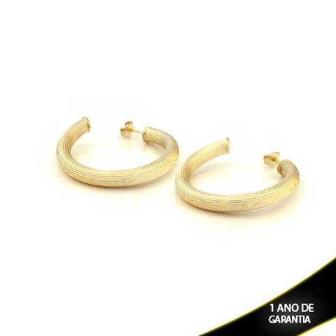 Imagem de Brinco Argola Tubo Riscado com Diamantado - 0209744