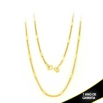 Imagem de Corrente Feminina Redonda com Canutilhos Diamantados 3mm 50cm - 0402633