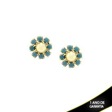 Imagem de Brinco Flor com Strass Azul Tiffany e Pérola no Meio  - 0210099