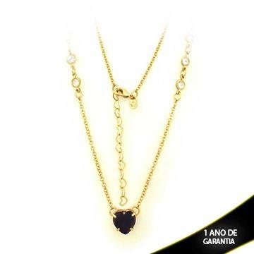 Imagem de Corrente Feminina Zircônias com Coração com Pedra Várias Cores 47cm Mais 5cm de Extensor - 0402766