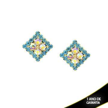 Imagem de Brinco Quadrado com Strass Azul Claro e Furta-Cor no Meio - 0210124