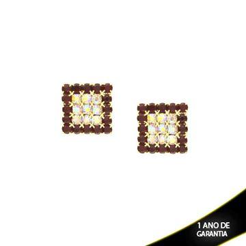 Imagem de Brinco Quadrado com Strass Várias Cores - 0210123
