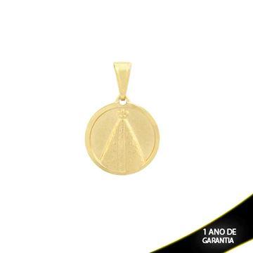 Imagem de Pingente Medalha com Nossa Senhora Aparecida Fosca e Detalhe Diamantado em Volta- 0303912