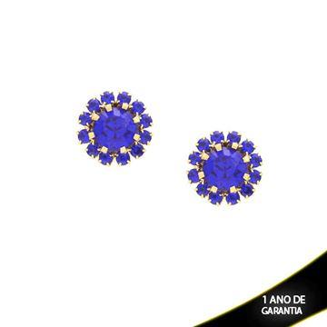 Imagem de Brinco Flor com Pedras de Strass Várias Cores - 0210164