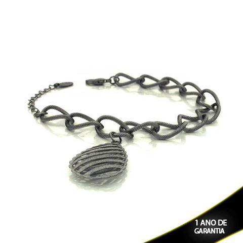 Imagem de Pulseira Feminina Banho Negro com Gota Diamantada 19cm Mais 3,5cm de Extensor - 0503123