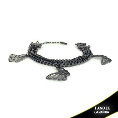 Imagem de Pulseira Feminina Banho Negro com Três Malhas e Três Borboletas 19cm Mais 4cm de Extensor - 0503131