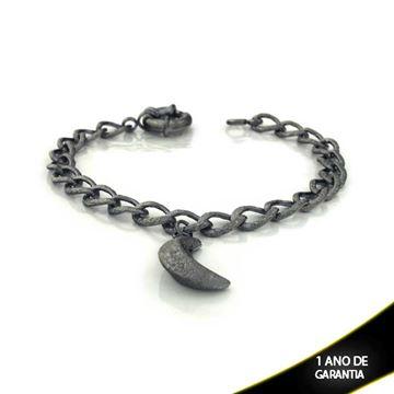 Imagem de Pulseira Feminina Banho Negro com Lua 19,5cm - 0503128