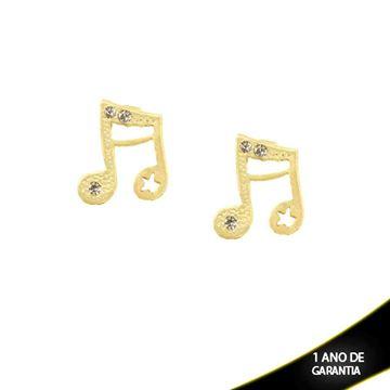 Imagem de Brinco Nota Musical com Três Strass  - 0209395