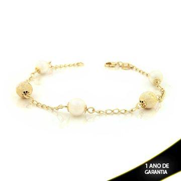 Imagem de Pulseira Feminina com Três Pérolas e Duas Bolas Foscas Diamantadas 21cm - 0502561
