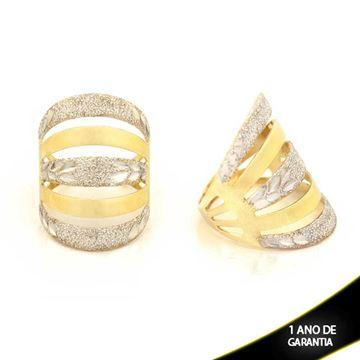 Imagem de Anel Liso e Fosco com Detalhes Diamantados e Aplique de Rodio - 0104392