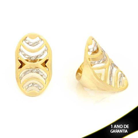Imagem de Anel Liso e Fosco com Detalhes Diamantados e Aplique de Ródio - 0104393
