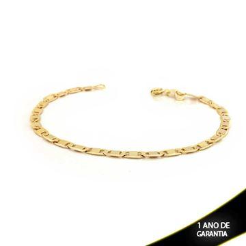 Imagem de Pulseira Masculina Elos Diferentes Lisos e Diamantados 4mm 20cm - 0501876