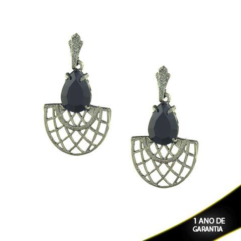 Imagem de Brinco Banho Negro Trabalhado com Pedra Acrílica Várias Cores - 0210239